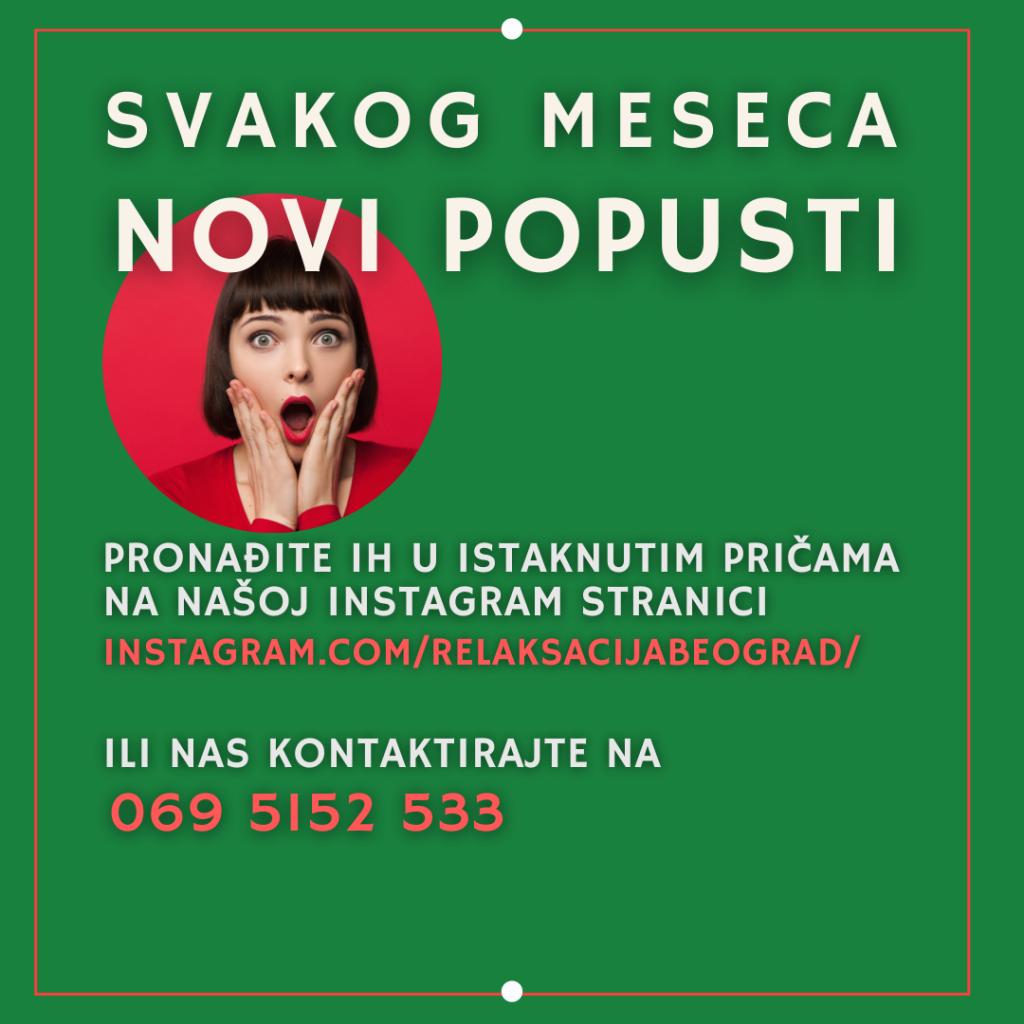 Svakog meseca novi popusti na masazu samo u Relaksacija Beograd